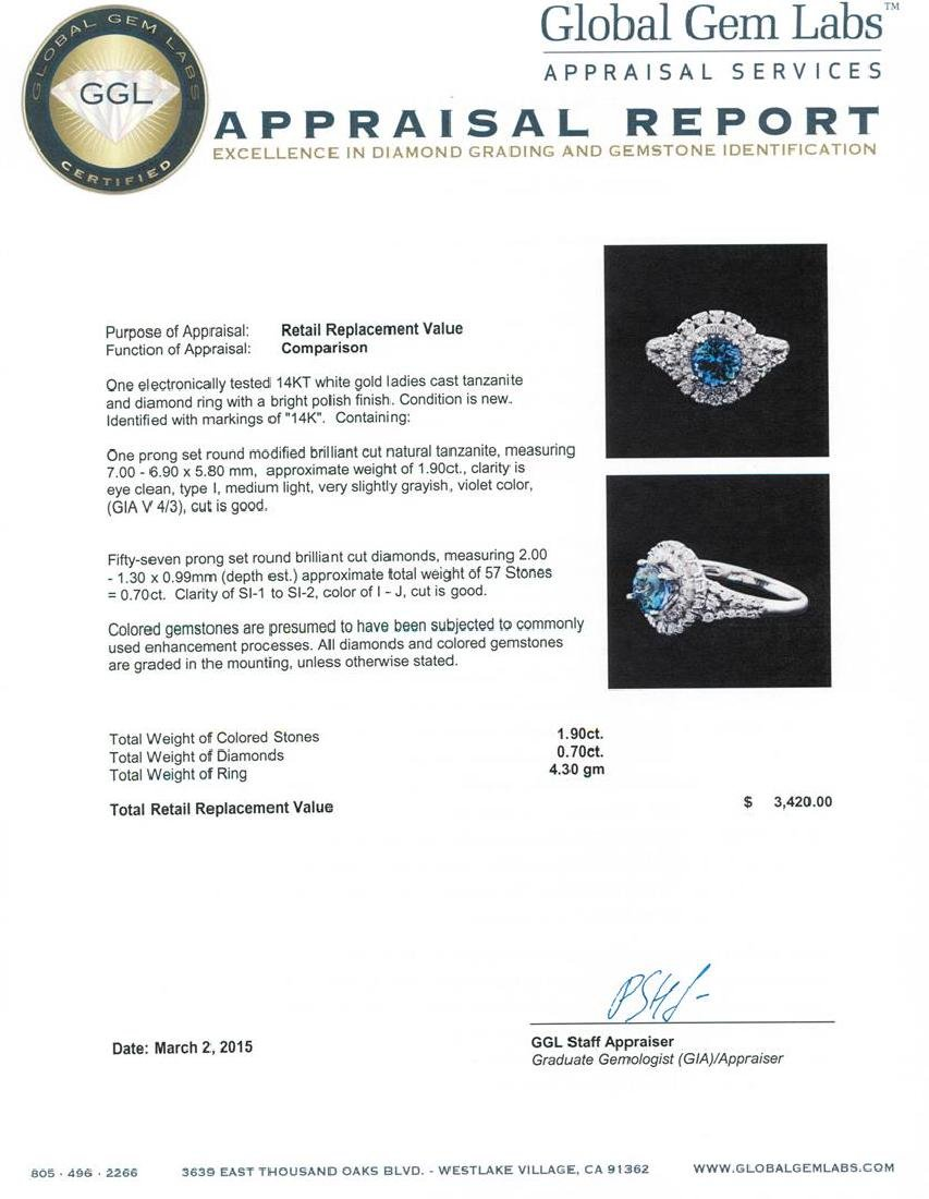 14KT White Gold 1.90 ctw Tanzanite and Diamond Ring - 5