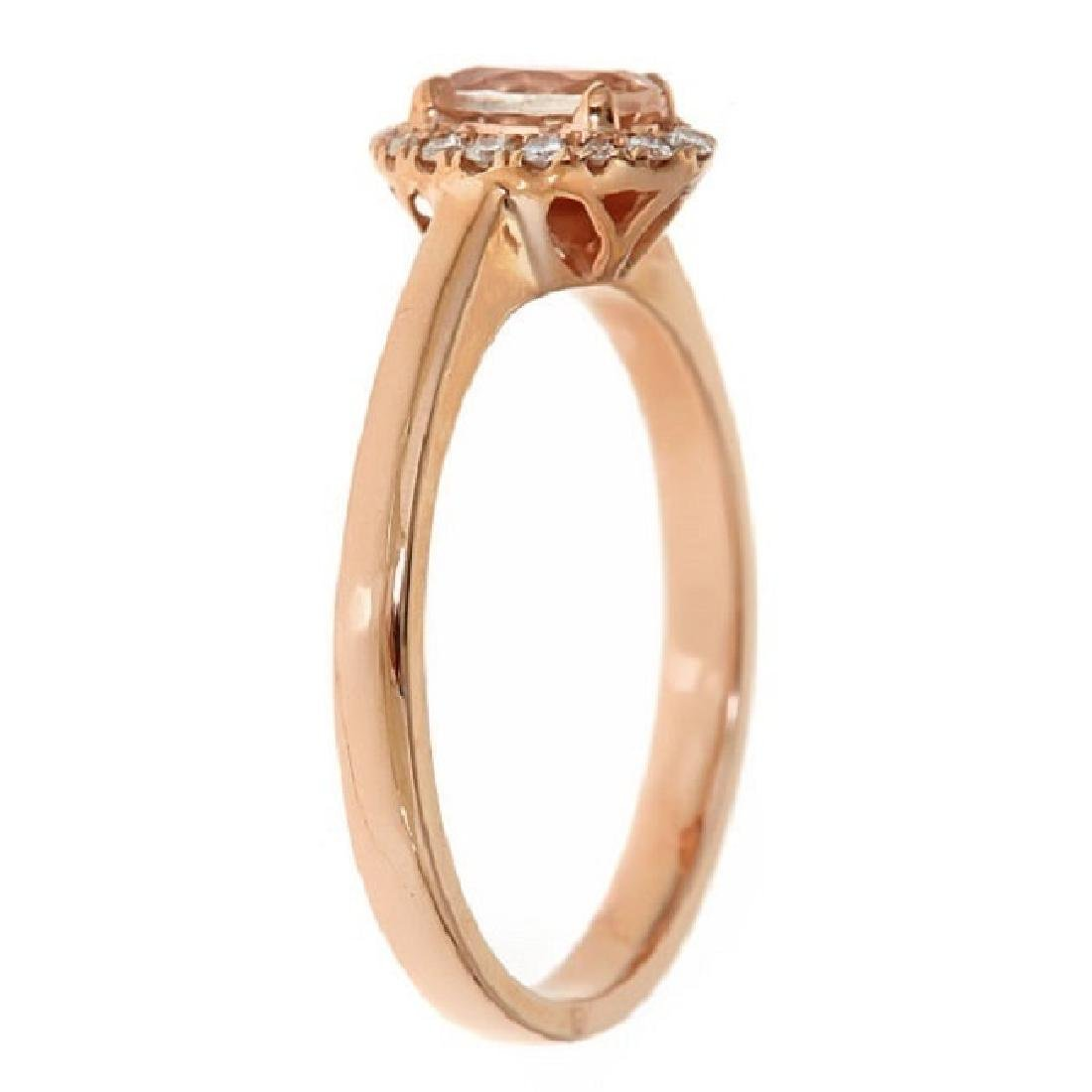 0.43 ctw Morganite and Diamond Ring - 10KT Rose Gold - 2