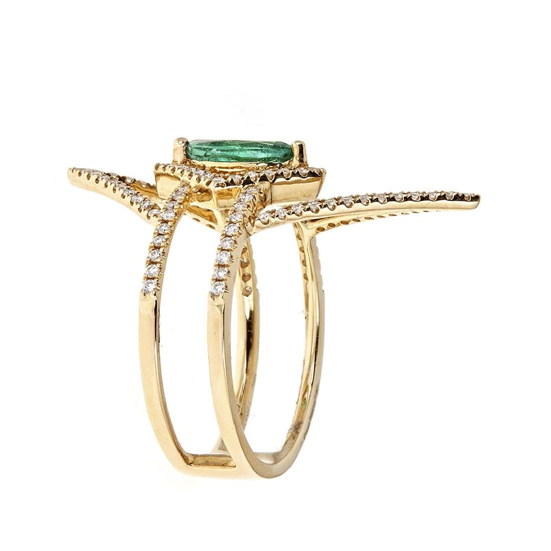 0.47 ctw Emerald and Diamond Ring - 18KT Yellow Gold