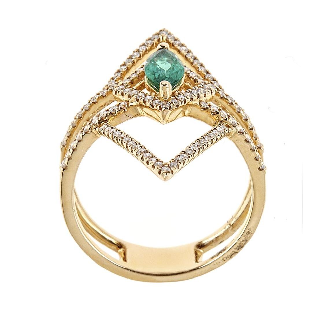 0.47 ctw Emerald and Diamond Ring - 18KT Yellow Gold - 2