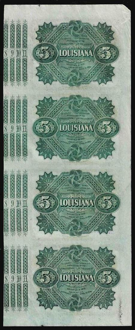 Uncut Sheet of (4) State of Louisiana Baby Bond - 2
