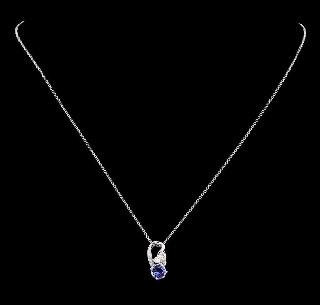 0.76 ctw Tanzanite and Diamond Pendant With Chain -