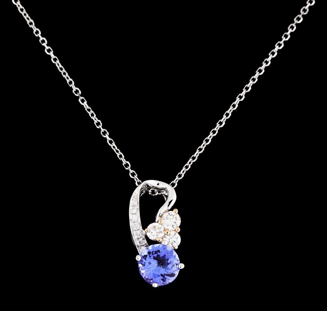 0.76 ctw Tanzanite and Diamond Pendant With Chain - - 2