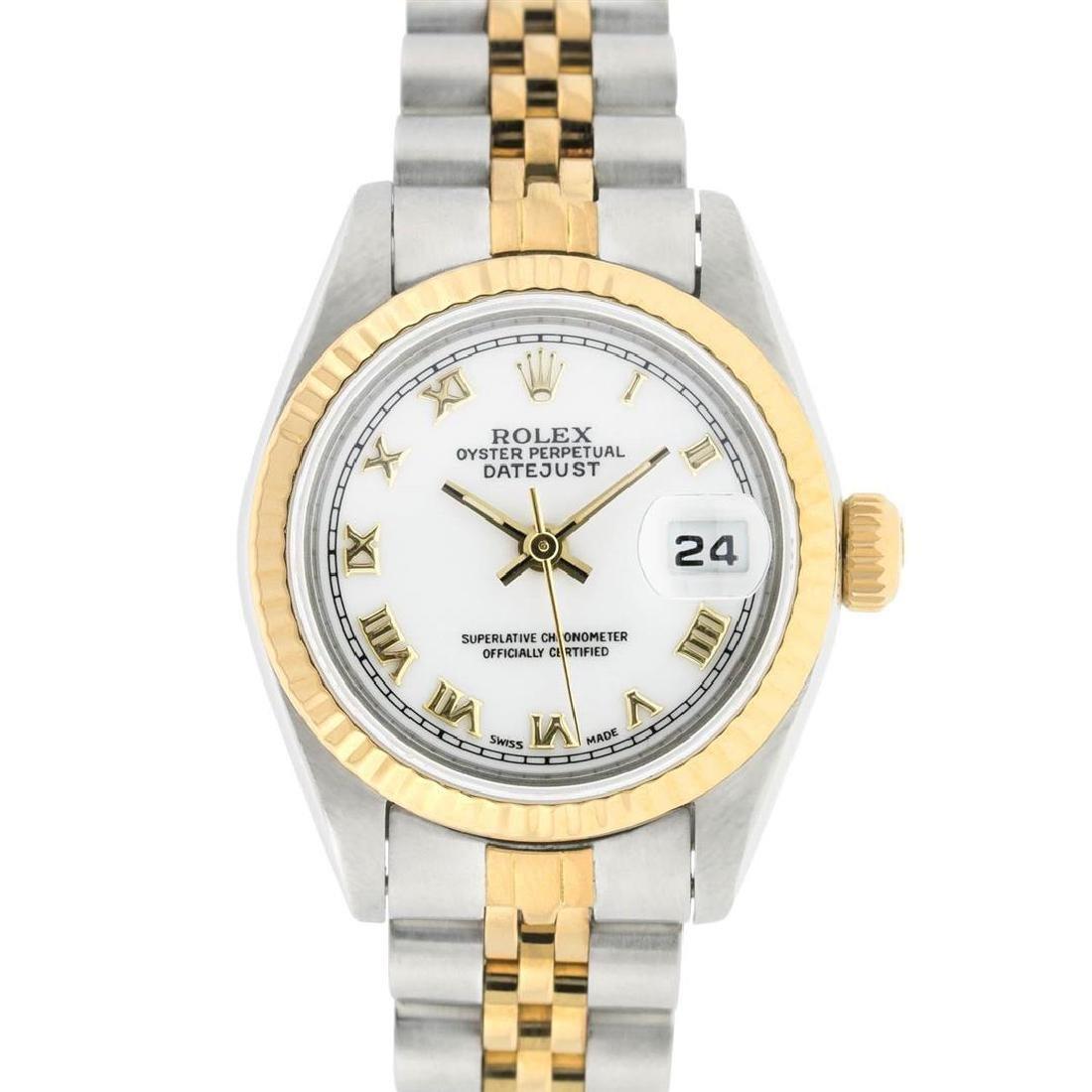 Rolex Ladies 2 Tone 14K White Roman 26MM Datejust - 2