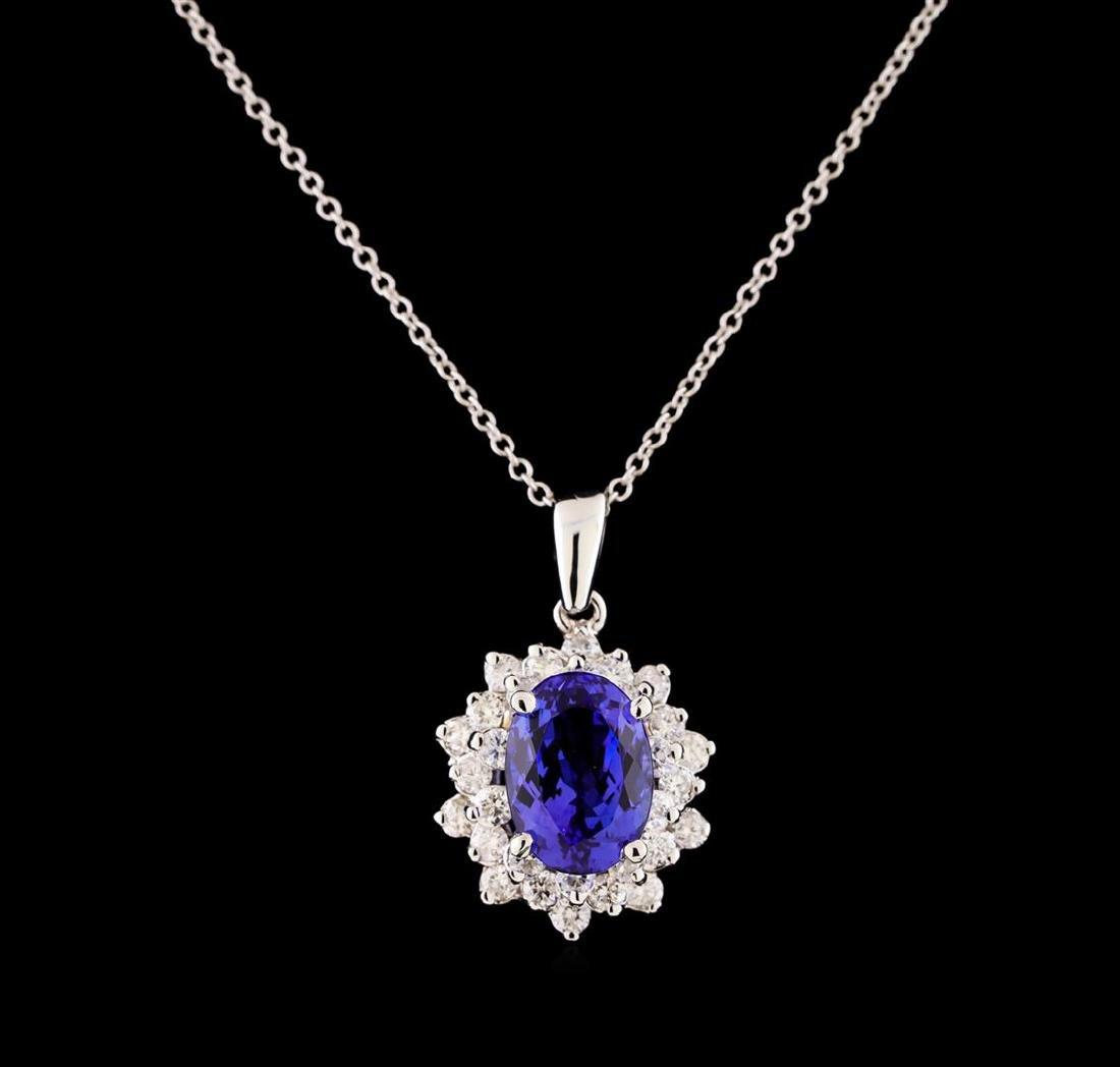 3.40 ctw Tanzanite and Diamond Pendant With Chain -