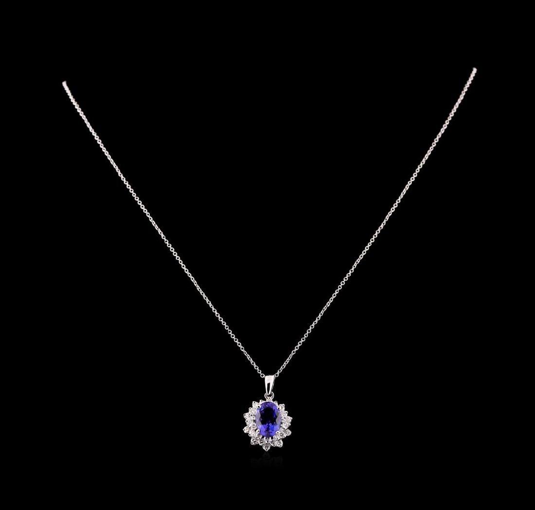 3.40 ctw Tanzanite and Diamond Pendant With Chain - - 2