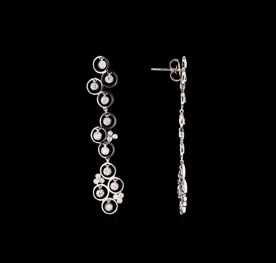 14KT White Gold 0.66 ctw Diamond Earrings - 2