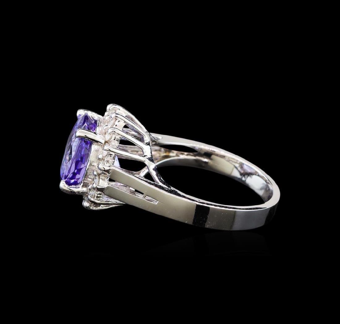 14KT White Gold 4.76 ctw Tanzanite and Diamond Ring - 3