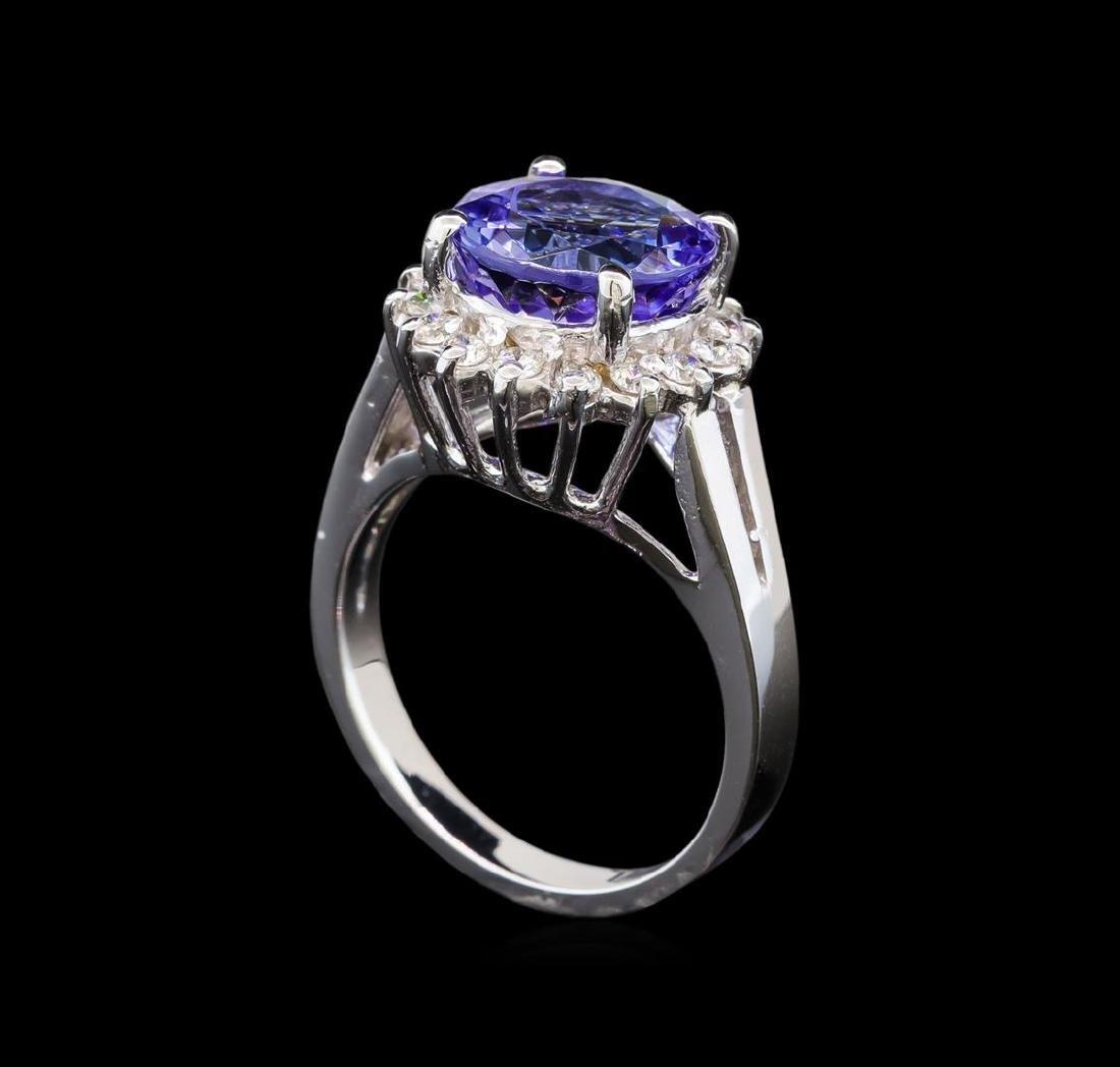 14KT White Gold 4.76 ctw Tanzanite and Diamond Ring - 4