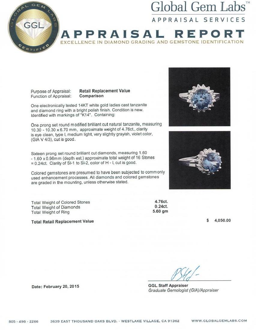 14KT White Gold 4.76 ctw Tanzanite and Diamond Ring - 5