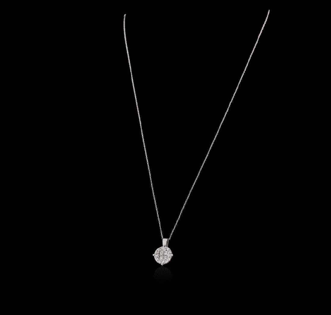 14KT White Gold 0.61 ctw Diamond Pendant with Chain - 2
