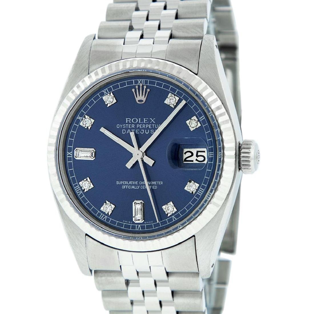 Rolex Mens Stainless Blue Diamond 36MM Datejust