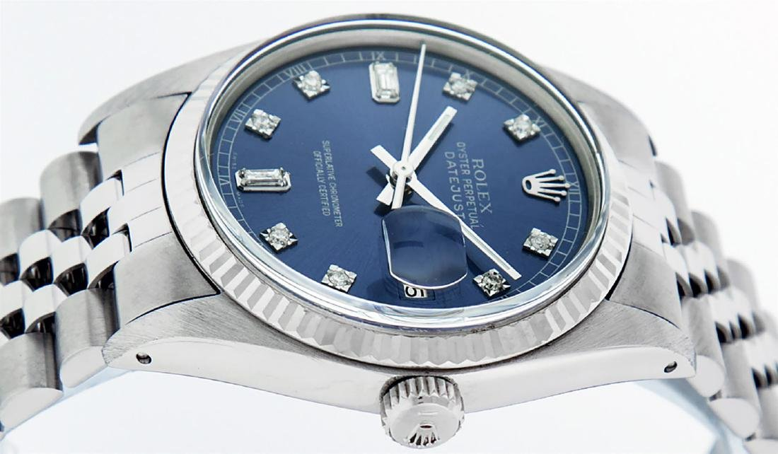 Rolex Mens Stainless Blue Diamond 36MM Datejust - 3