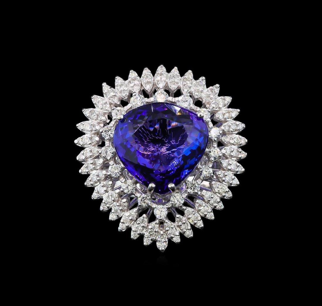 GIA Cert 11.22 ctw Tanzanite and Diamond Ring - 14KT - 2