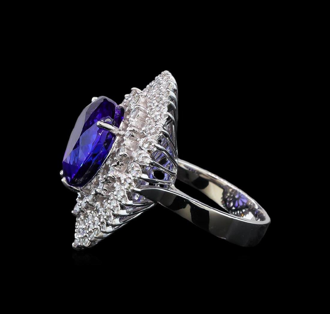 GIA Cert 11.22 ctw Tanzanite and Diamond Ring - 14KT - 3