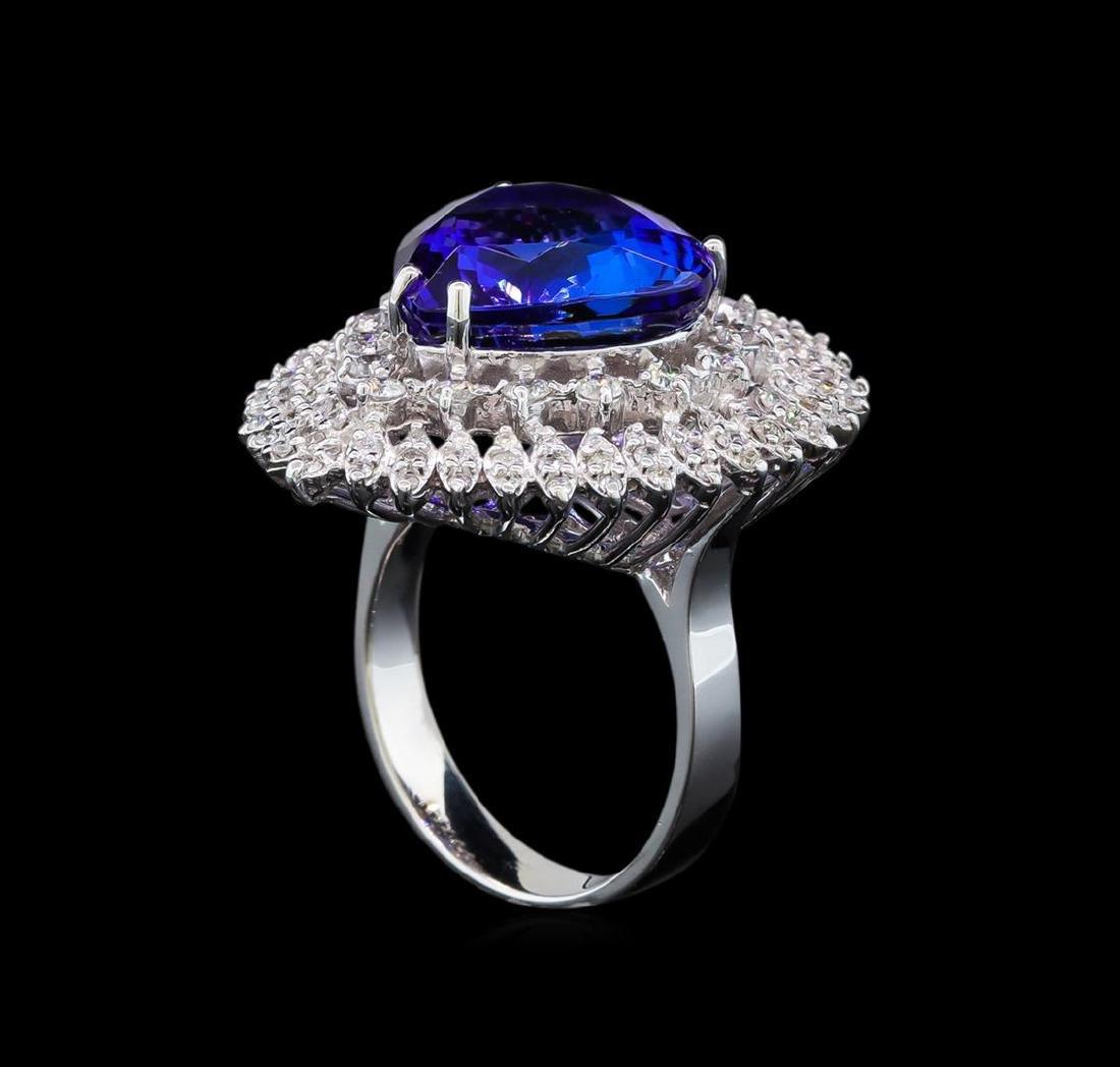 GIA Cert 11.22 ctw Tanzanite and Diamond Ring - 14KT - 4