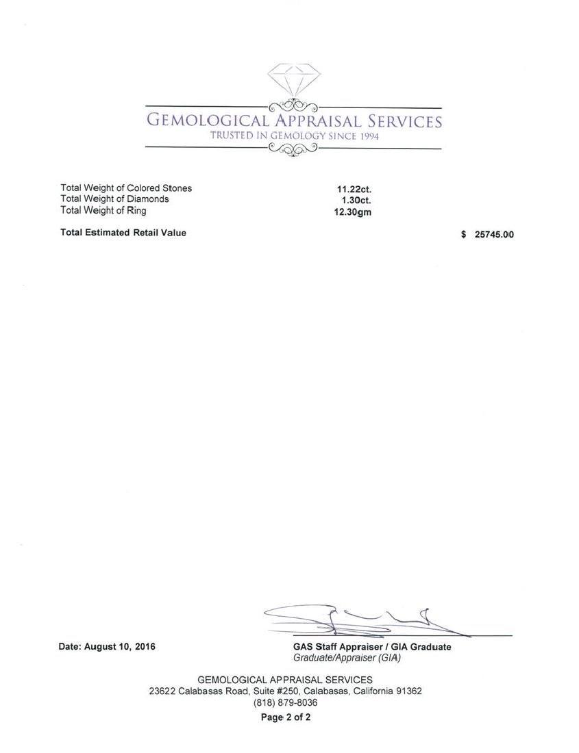GIA Cert 11.22 ctw Tanzanite and Diamond Ring - 14KT - 6