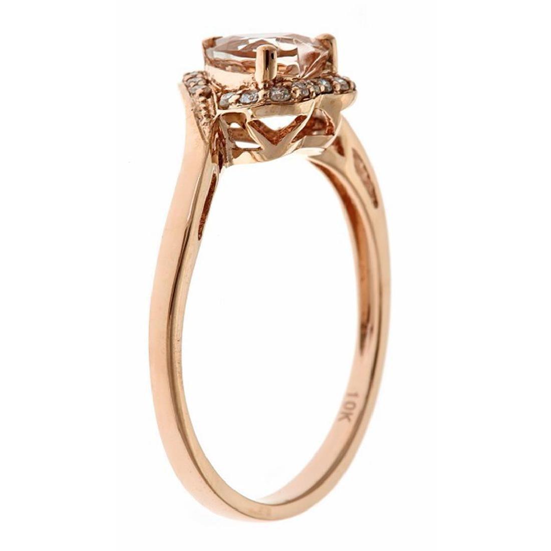 0.68 ctw Morganite and Diamond Ring - 10KT Rose Gold - 2