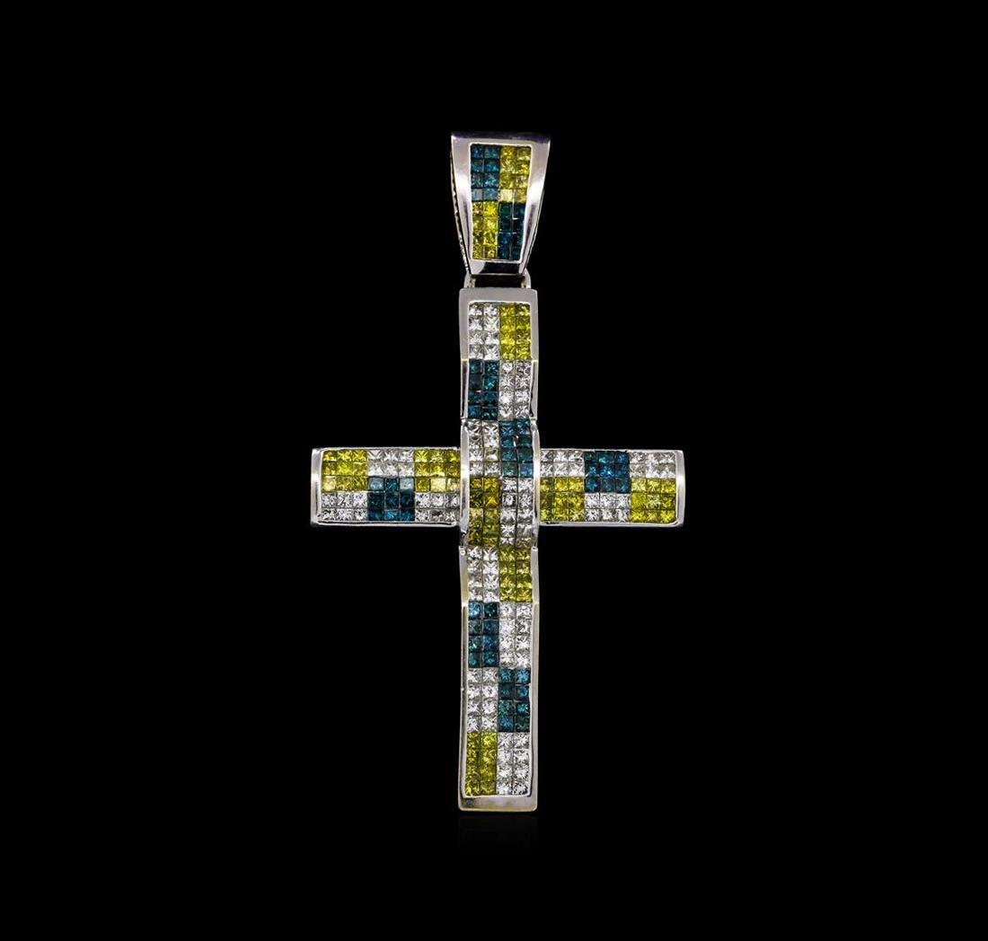11.73 ctw Diamond Cross Pendant - 14KT White Gold