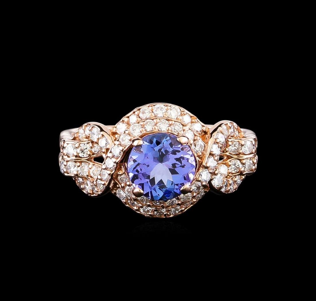 0.96 ctw Tanzanite and Diamond Ring - 14KT Rose Gold - 2