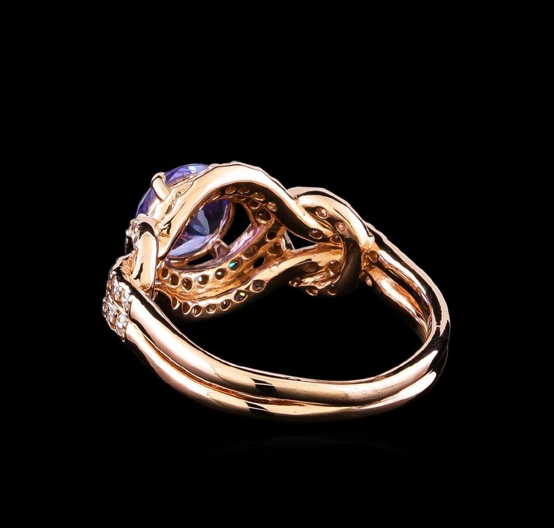 0.96 ctw Tanzanite and Diamond Ring - 14KT Rose Gold - 3