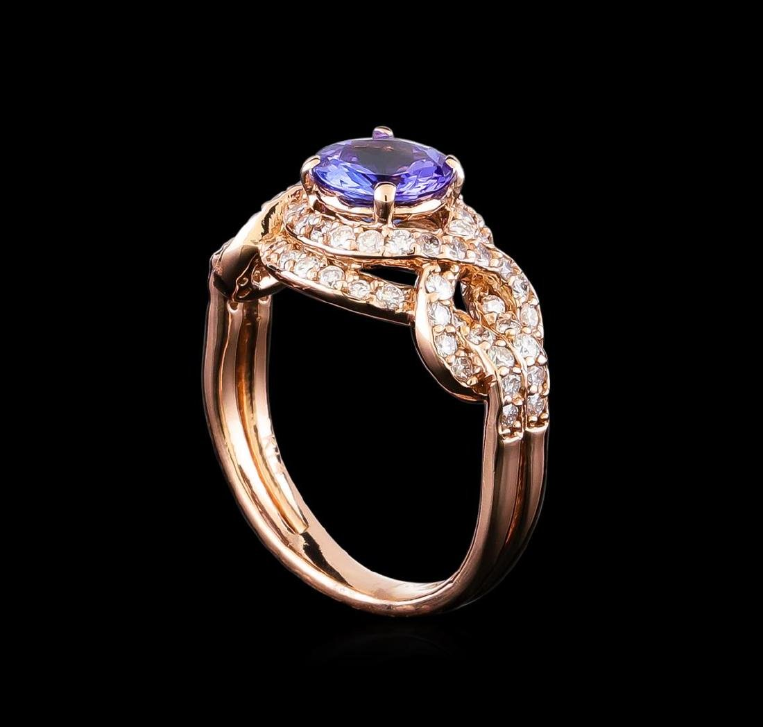 0.96 ctw Tanzanite and Diamond Ring - 14KT Rose Gold - 4