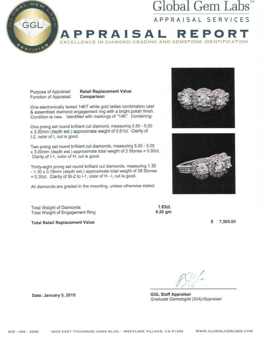 14KT White Gold 1.83 ctw Diamond Ring - 5