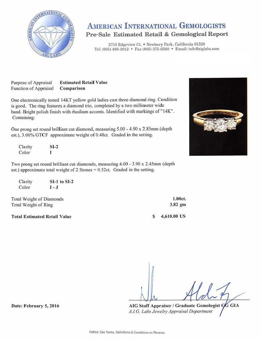 1.00 ctw Diamond Ring - 14KT Yellow Gold - 5