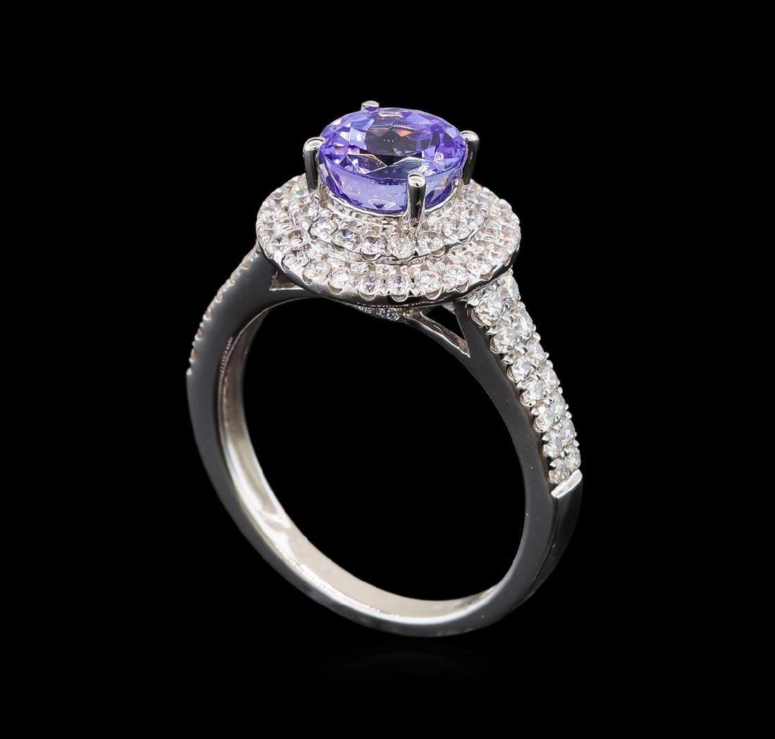 18KT White Gold 1.37 ctw Tanzanite and Diamond Ring - 4