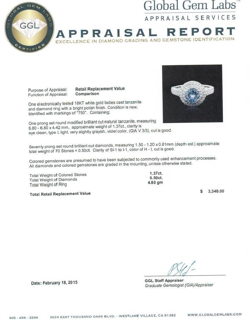 18KT White Gold 1.37 ctw Tanzanite and Diamond Ring - 5