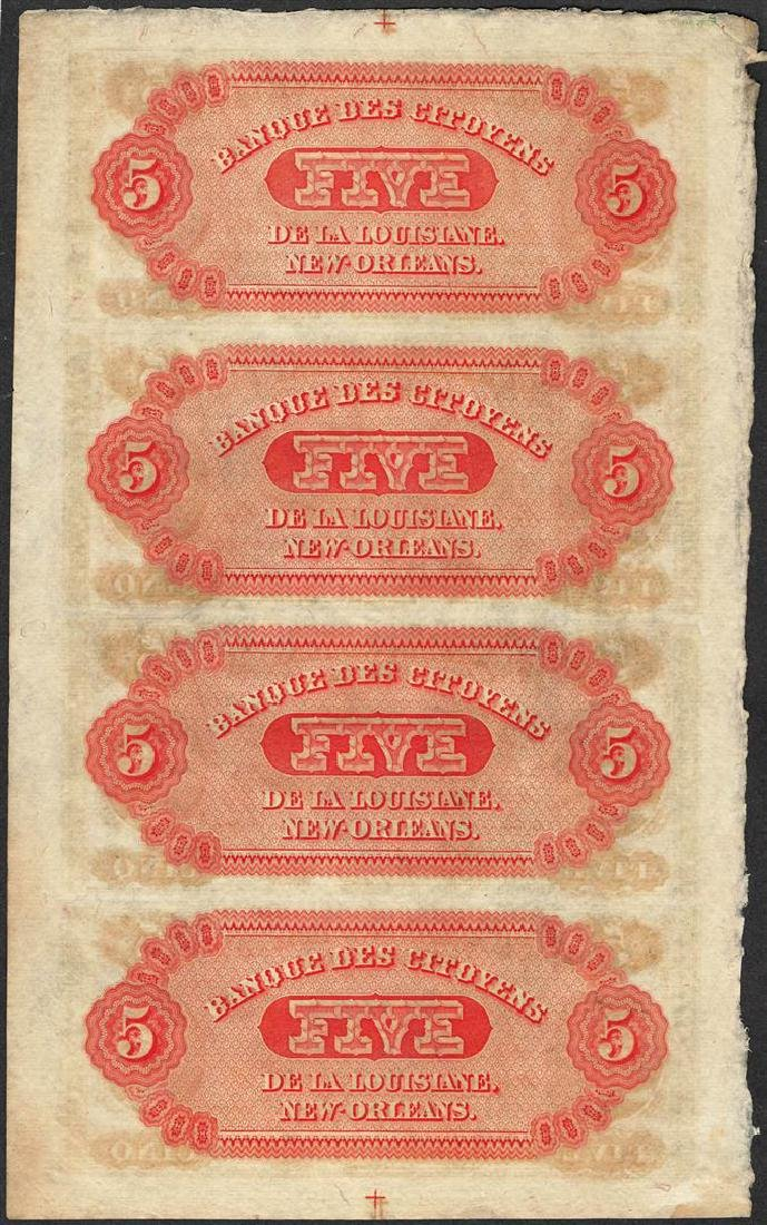 Uncut Sheet of 1800's $5 Citizens Bank of Louisiana - 2