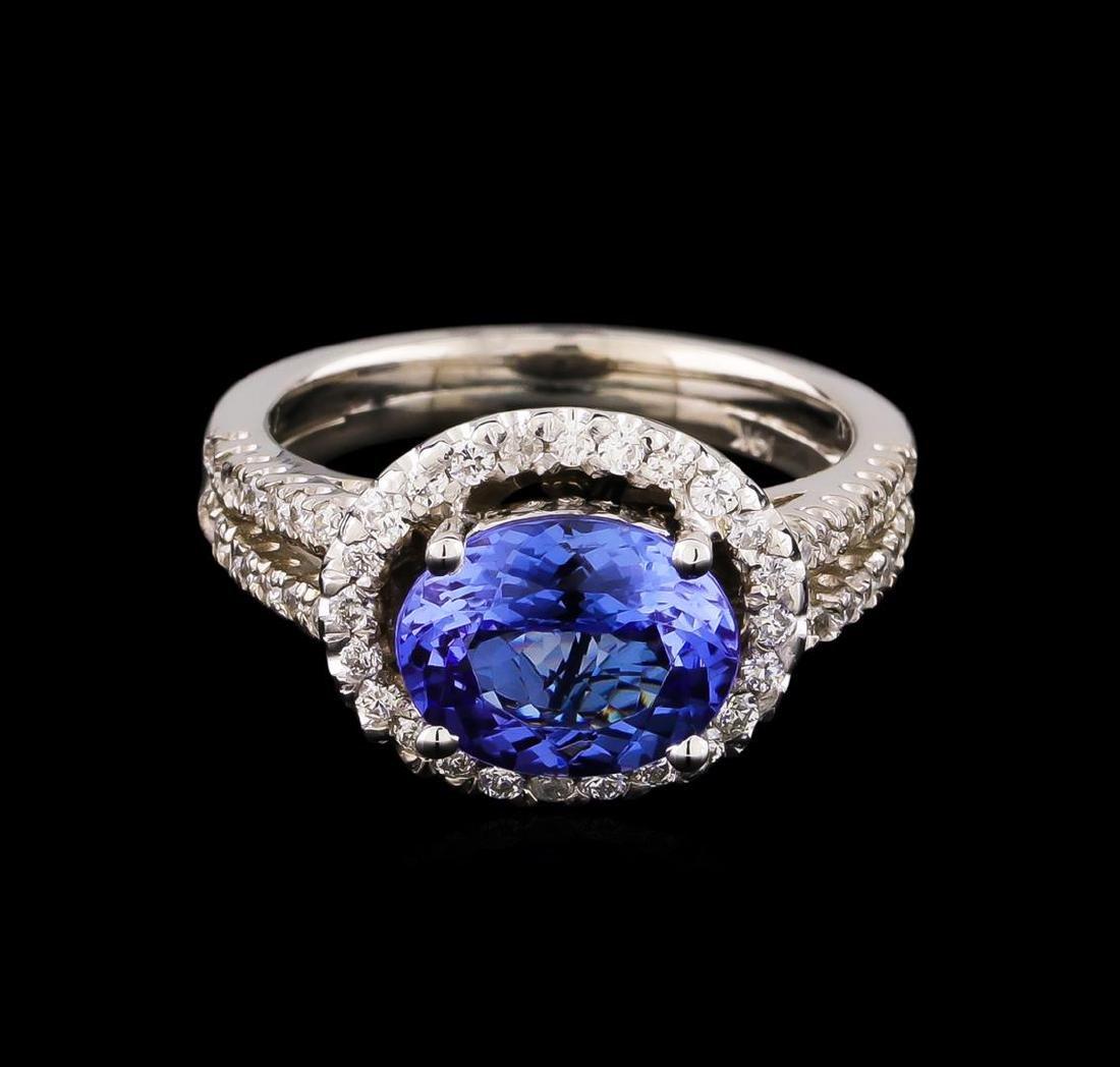 2.35 ctw Tanzanite and Diamond Ring - 14KT White Gold - 2