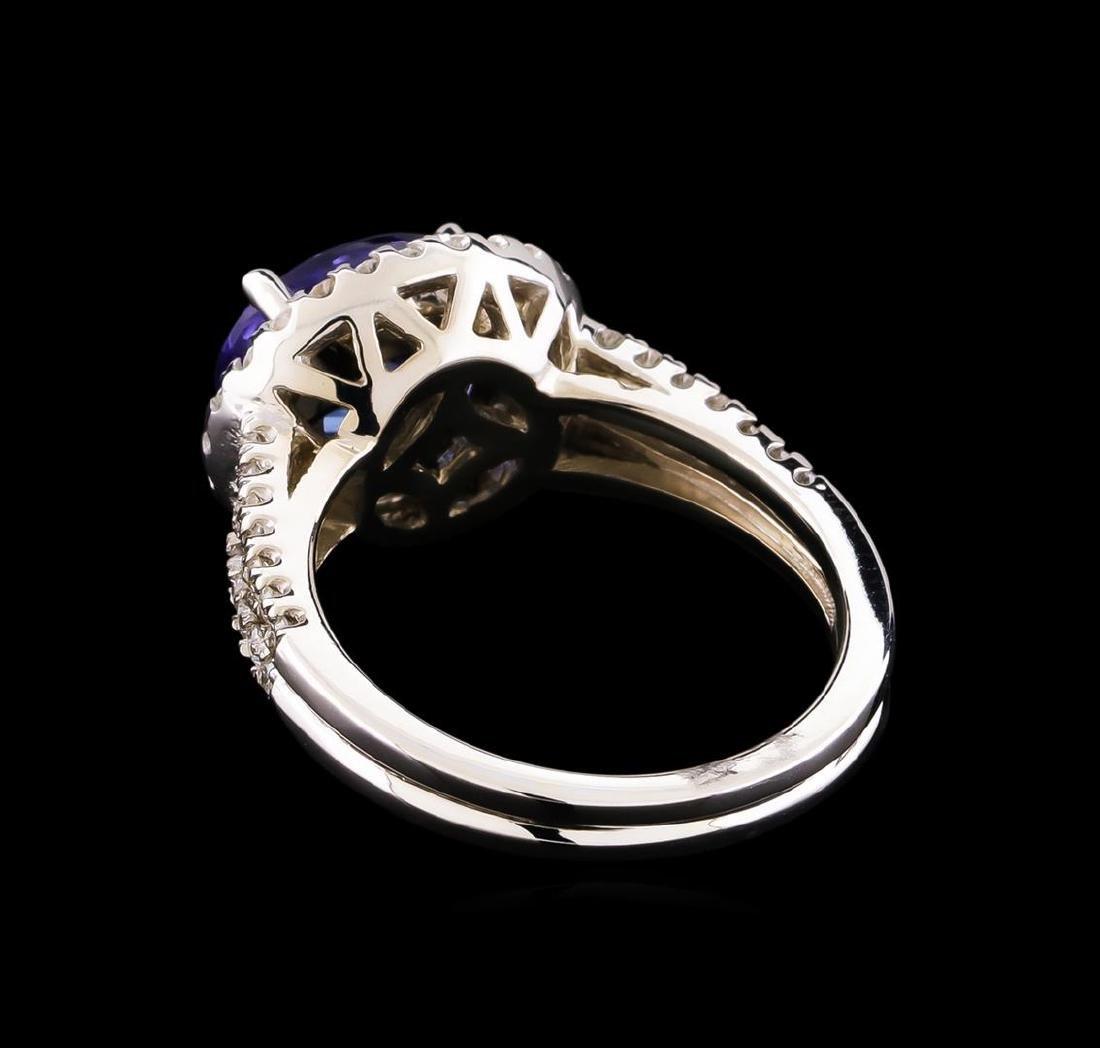 2.35 ctw Tanzanite and Diamond Ring - 14KT White Gold - 3
