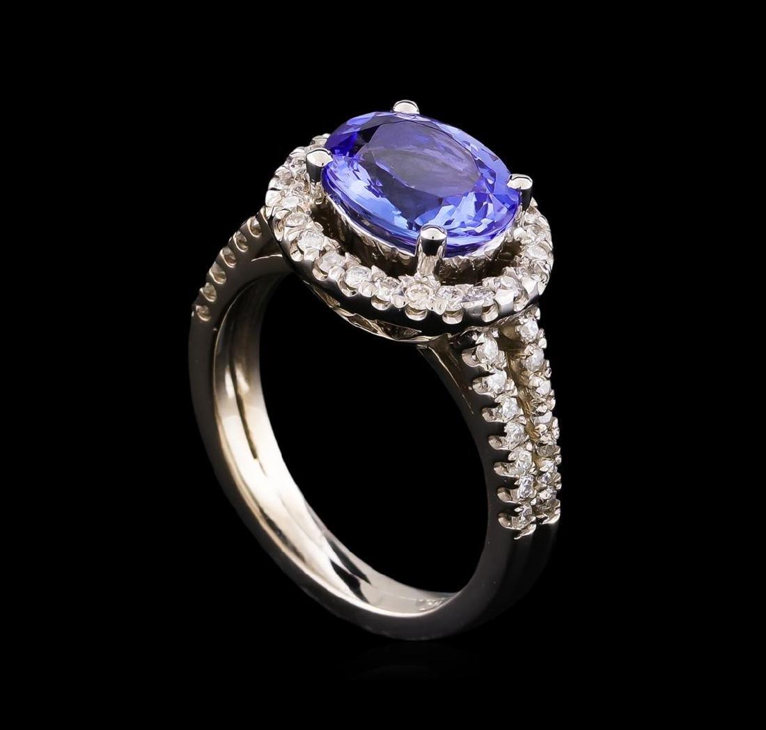 2.35 ctw Tanzanite and Diamond Ring - 14KT White Gold - 4