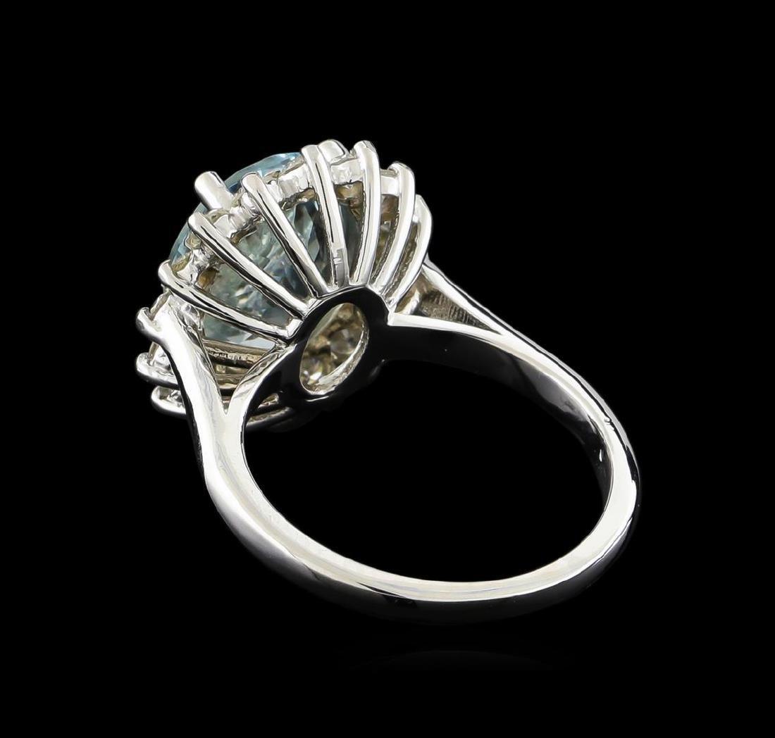 4.15 ctw Aquamarine and Diamond Ring - 14KT White Gold - 2