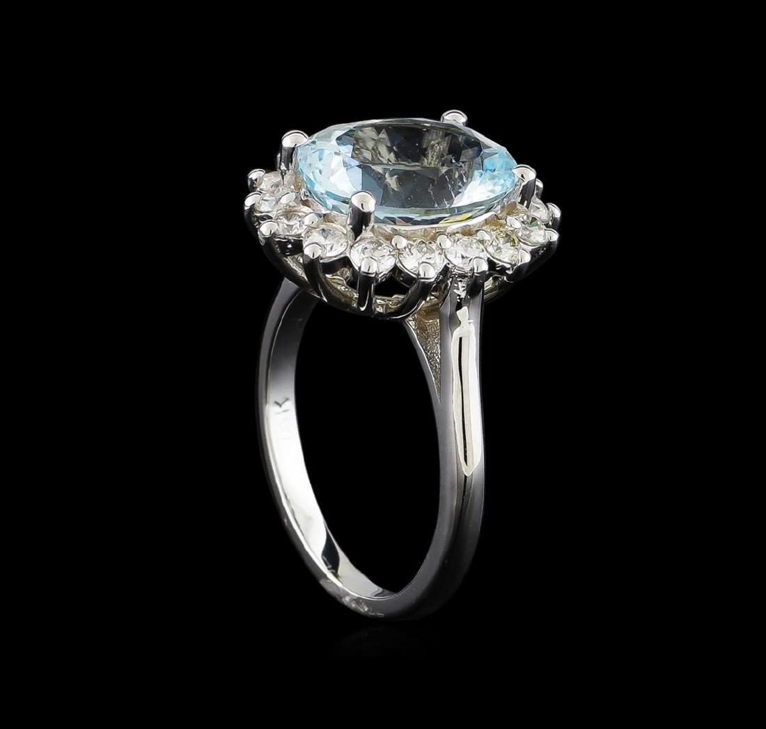 4.15 ctw Aquamarine and Diamond Ring - 14KT White Gold - 3
