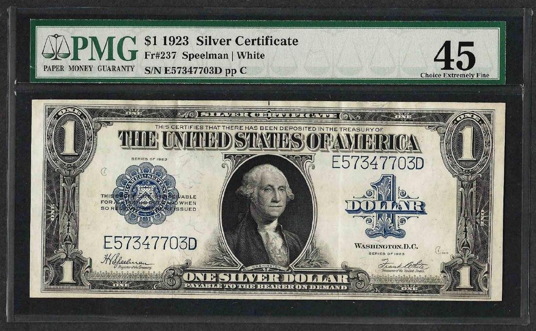 1923 $1 Silver Certificate Note Fr.237 PMG Choice
