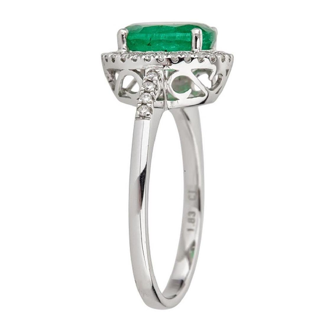 1.83 ctw Emerald and Diamond Ring - 14KT White Gold - 2