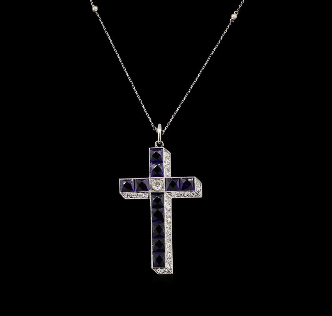6.60 ctw Sapphire and Diamond Pendant With Chain - 10KT - 2