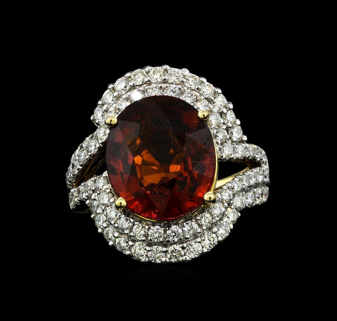7.50 ctw Malaya Garnet and Diamond Ring - 14KT Yellow - 2