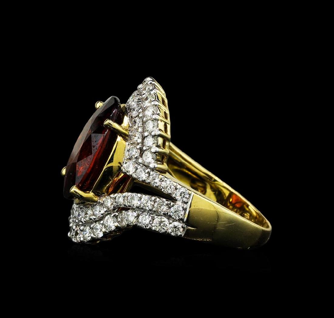 7.50 ctw Malaya Garnet and Diamond Ring - 14KT Yellow - 3
