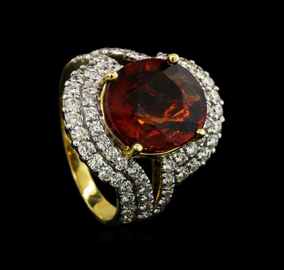 7.50 ctw Malaya Garnet and Diamond Ring - 14KT Yellow - 4