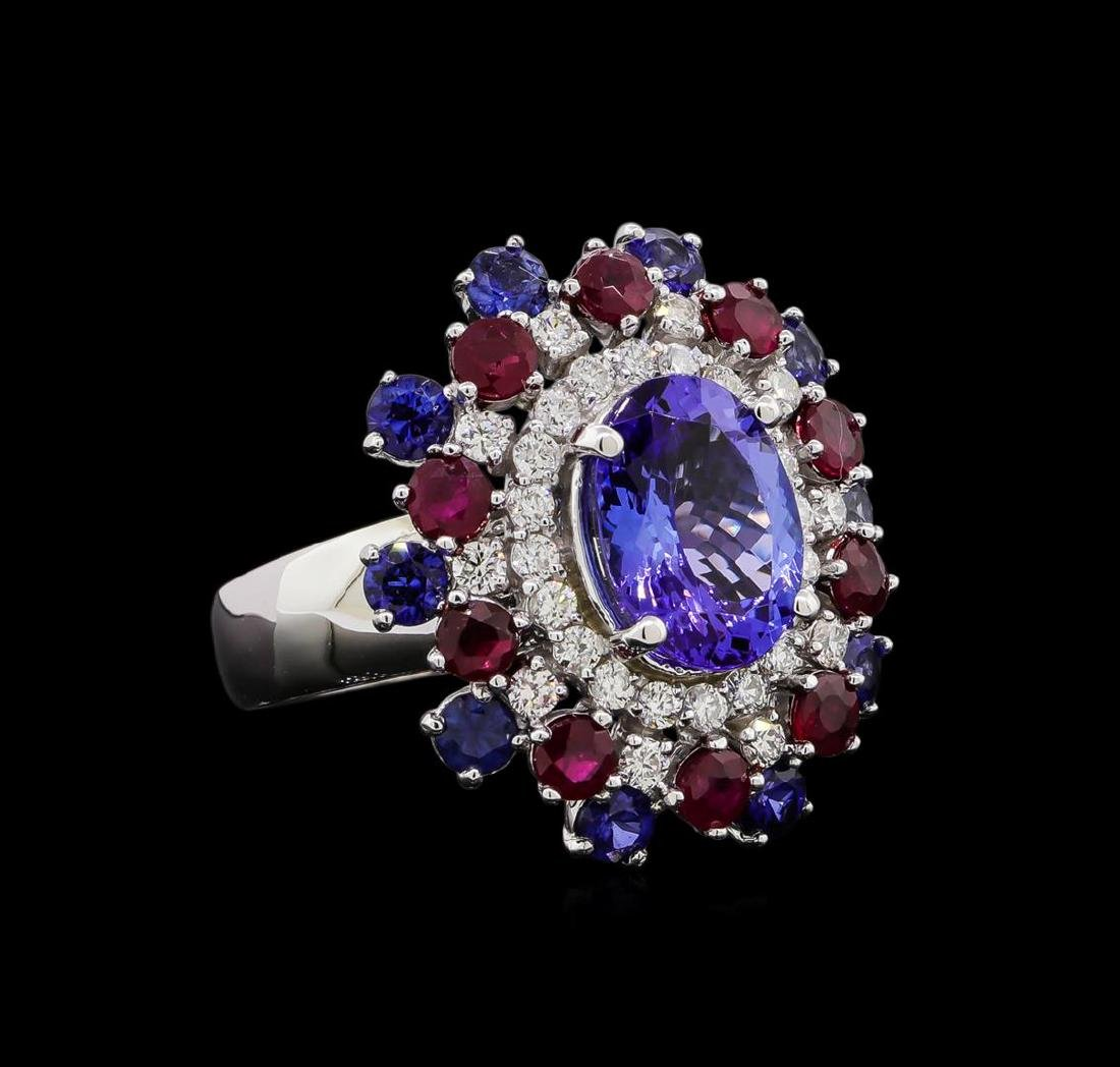 14KT White Gold 3.58 ctw Tanzanite, Sapphire, Ruby and