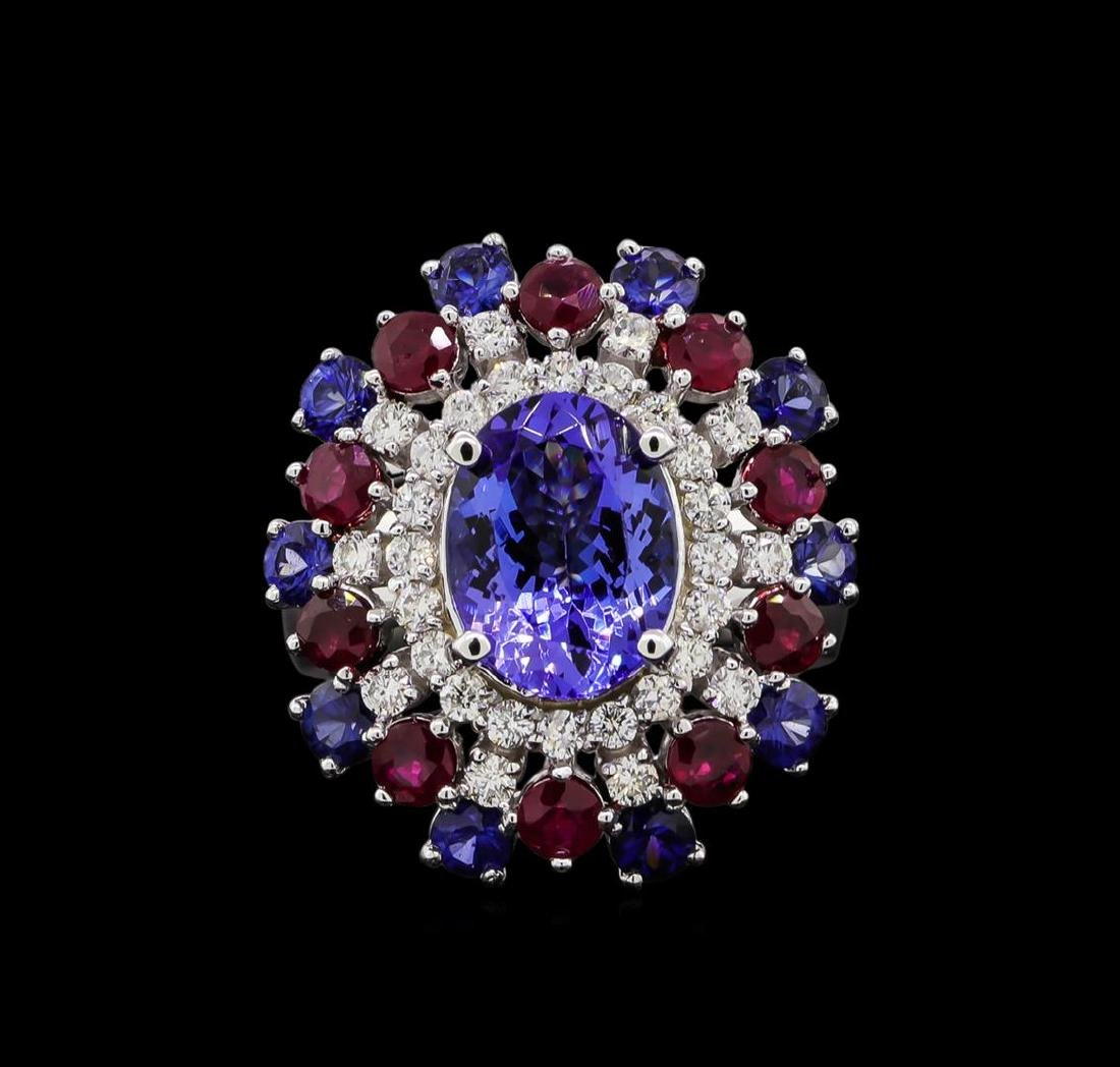 14KT White Gold 3.58 ctw Tanzanite, Sapphire, Ruby and - 2