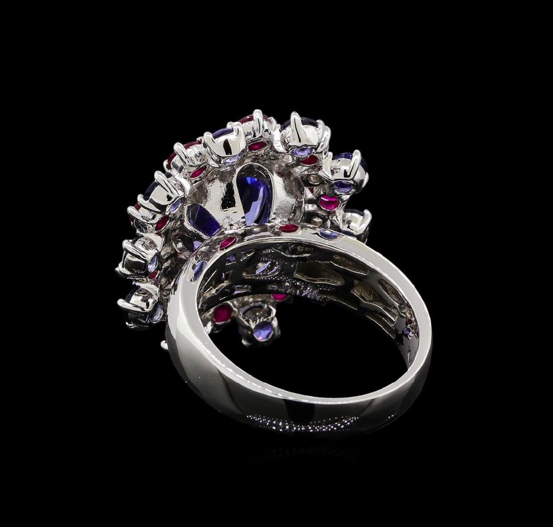14KT White Gold 3.58 ctw Tanzanite, Sapphire, Ruby and - 3
