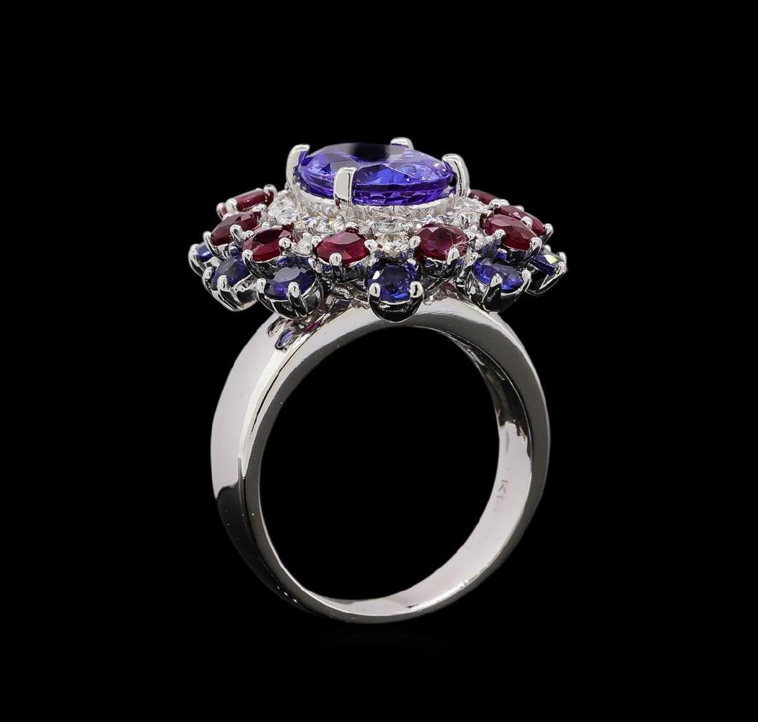 14KT White Gold 3.58 ctw Tanzanite, Sapphire, Ruby and - 4
