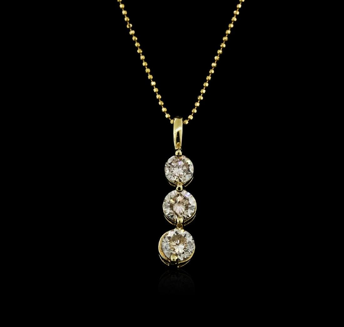 14KT Yellow Gold 1.50 ctw Diamond Pendant With Chain
