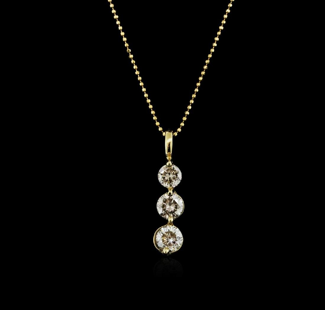 14KT Yellow Gold 1.50 ctw Diamond Pendant With Chain - 2