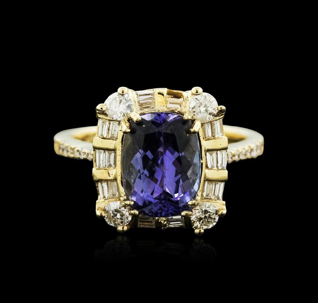14KT Yellow Gold 3.61 ctw Tanzanite and Diamond Ring - 2