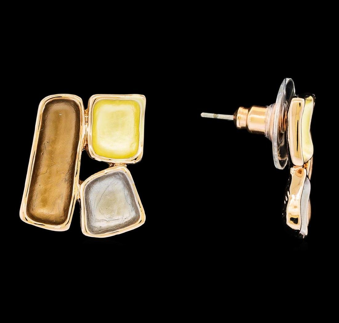 Tri Color Rectangle Earrings - Rose Gold Plated - 2